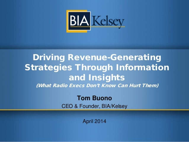 Driving Revenue-Generating Strategies Through Information and Insights (What Radio Execs Don't Know Can Hurt Them) Tom Buo...