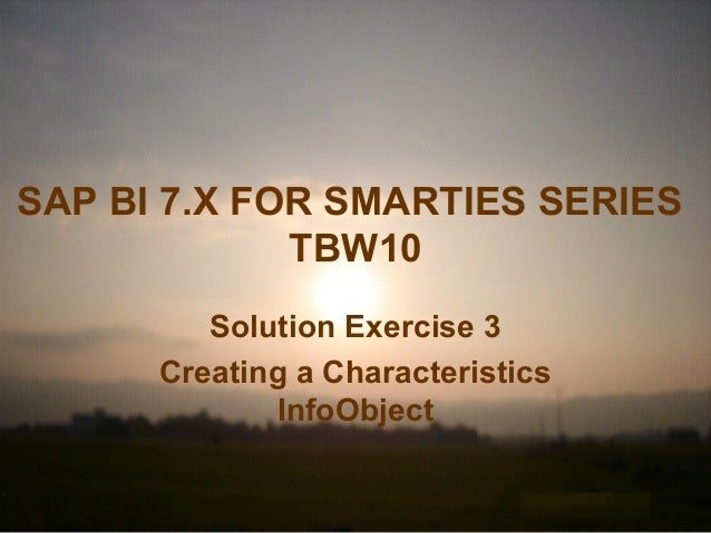 SAP BI 7.X FOR SMARTIES SERIES TBW10 Solution Exercise 3 Creating a Characteristics InfoObject