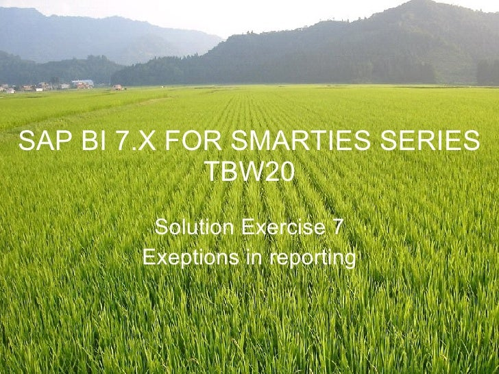 SAP BI 7.X FOR SMARTIES SERIES TBW20 Solution Exercise 7 Exeptions in reporting