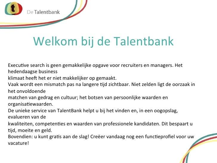 De Talentbank presentatie voor werkgevers