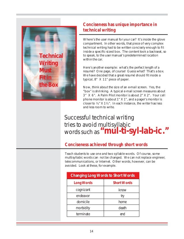 importance of technical writing in students The importance of academic language in achieving content area  the limited language proficient students often will not know these technical words and may.