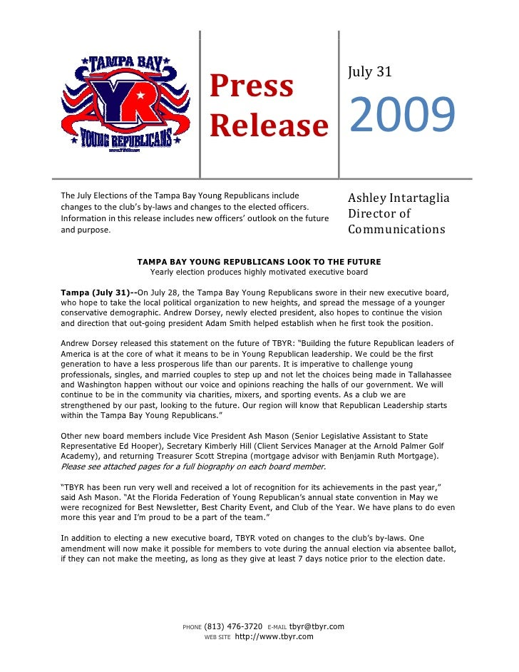 TBYR 2009 Elections Release