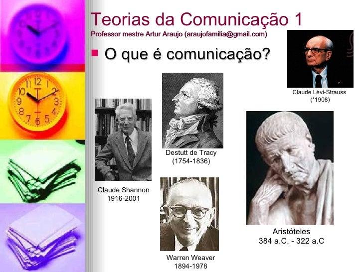 Teorias da Comunicação 1 Professor mestre Artur Araujo (araujofamilia@gmail.com) <ul><li>O que é comunicação? </li></ul>De...