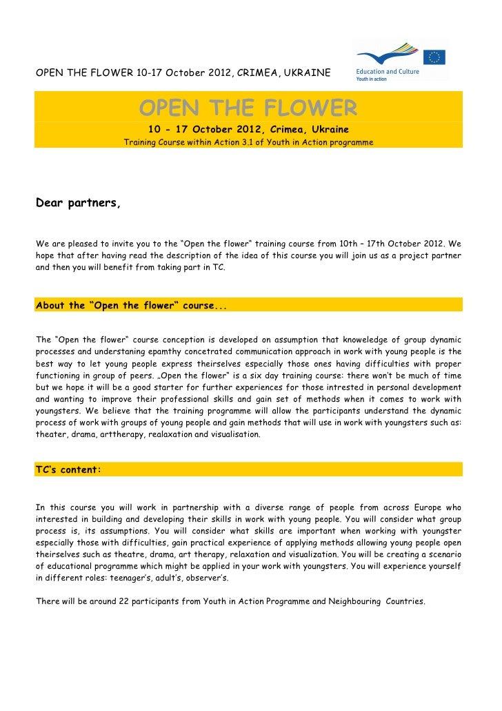 OPEN THE FLOWER 10-17 October 2012, CRIMEA, UKRAINE                          OPEN THE FLOWER                             1...