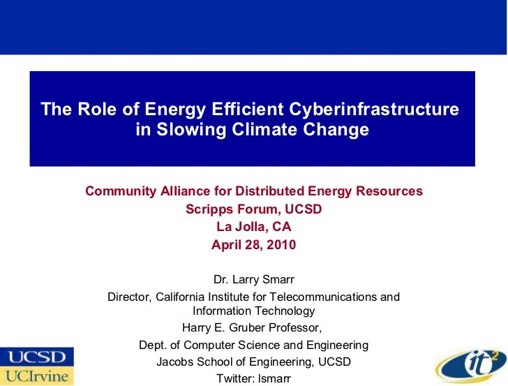 The Role of Energy Efficient Cyberinfrastructure  in Slowing Climate Change Community Alliance for Distributed Energy Reso...