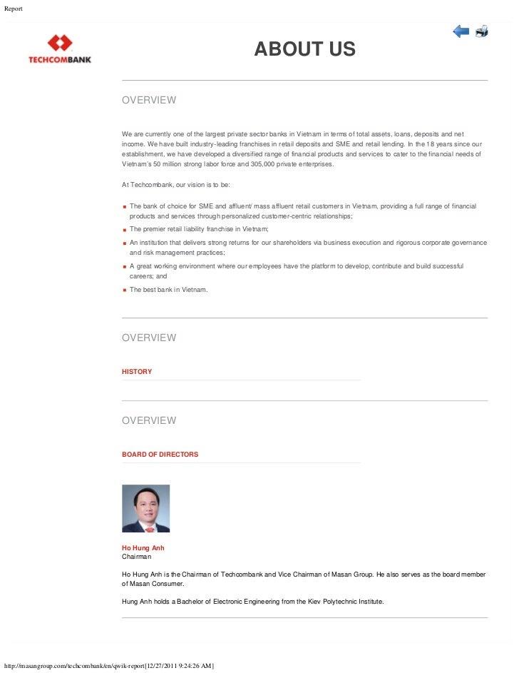 Techcombank Qwik Report