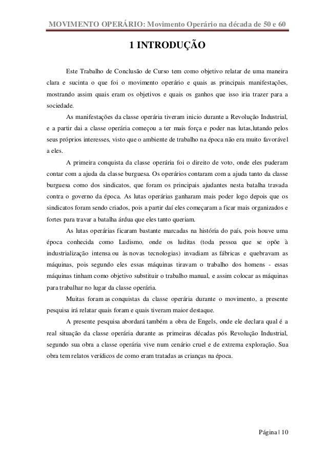 MOVIMENTO OPERÁRIO: Movimento Operário na década de 50 e 60                                 1 INTRODUÇÃO          Este Tra...