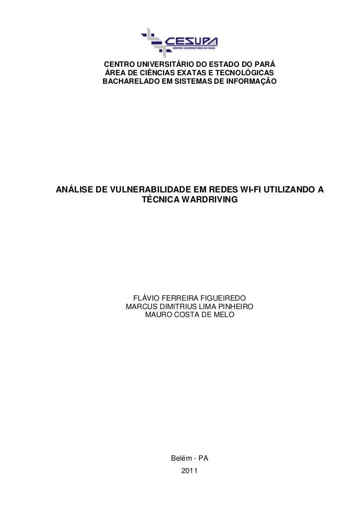 CENTRO UNIVERSITÁRIO DO ESTADO DO PARÁ         ÁREA DE CIÊNCIAS EXATAS E TECNOLÓGICAS         BACHARELADO EM SISTEMAS DE I...