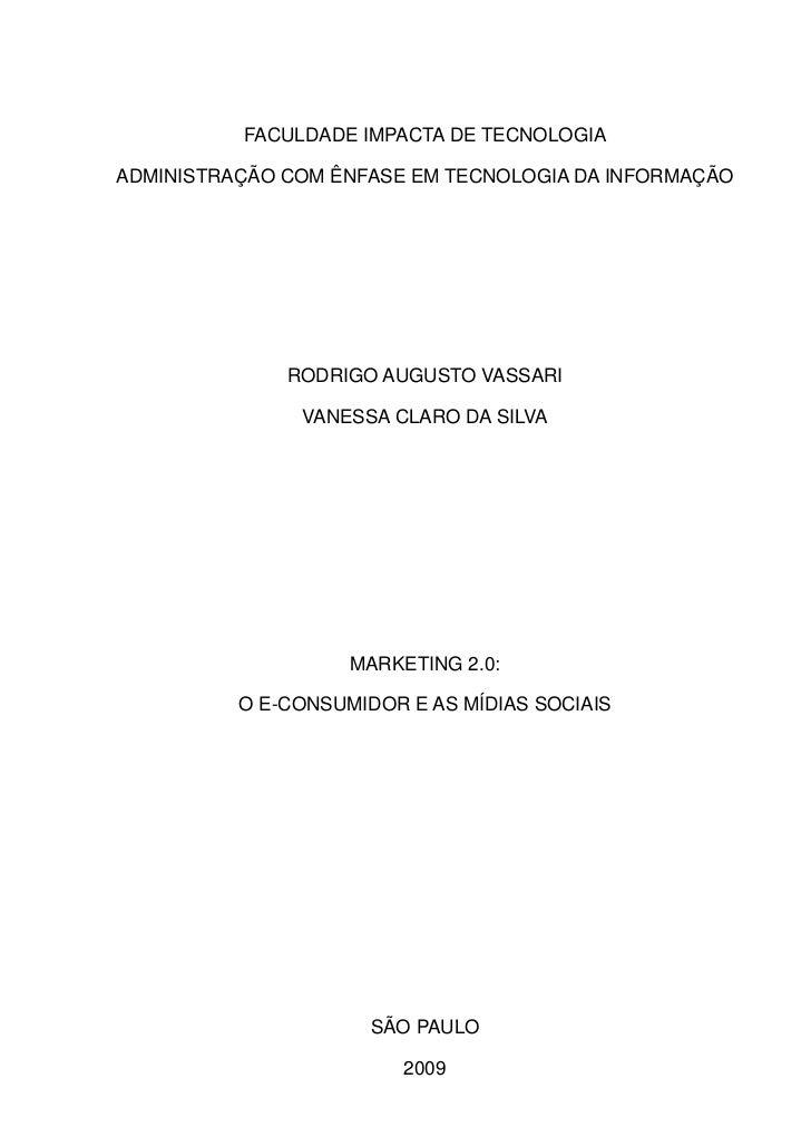 FACULDADE IMPACTA DE TECNOLOGIA  ADMINISTRAÇÃO COM ÊNFASE EM TECNOLOGIA DA INFORMAÇÃO                   RODRIGO AUGUSTO VA...