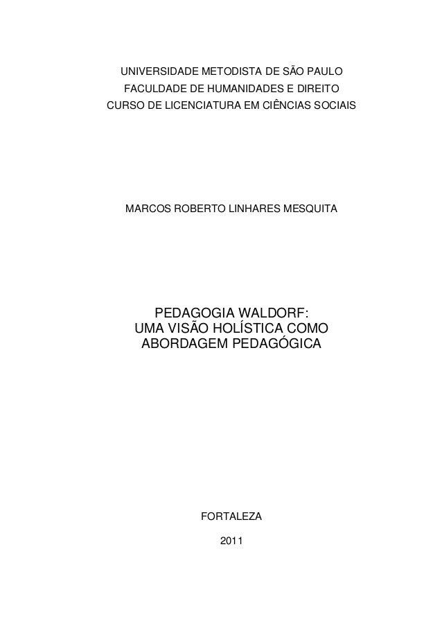 UNIVERSIDADE METODISTA DE SÃO PAULO FACULDADE DE HUMANIDADES E DIREITO CURSO DE LICENCIATURA EM CIÊNCIAS SOCIAIS MARCOS RO...