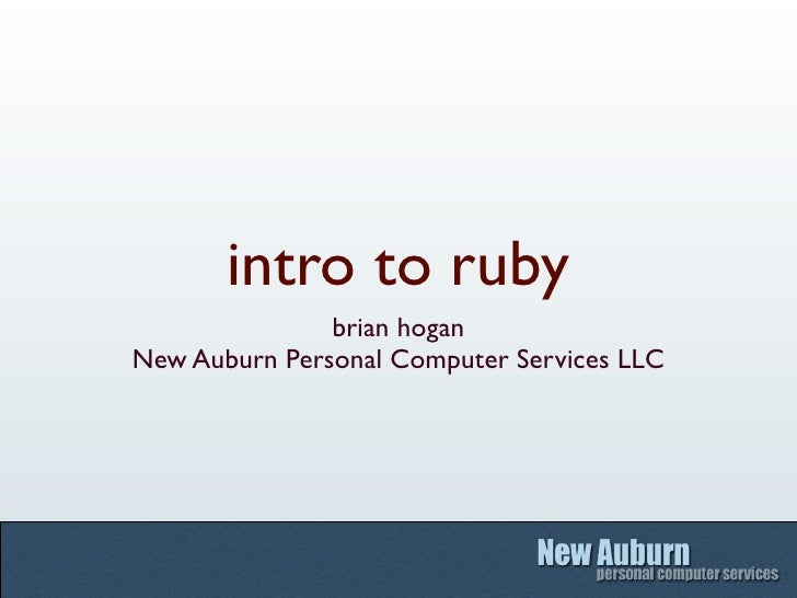 intro to ruby                brian hogan New Auburn Personal Computer Services LLC