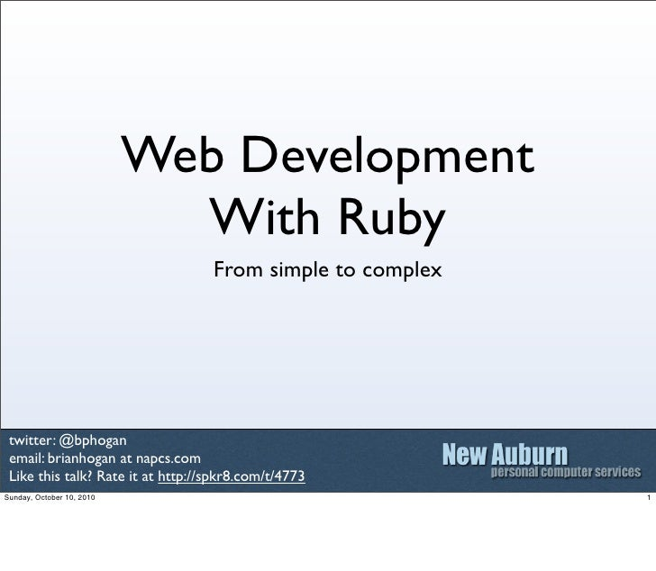 Web Development                              With Ruby                                    From simple to complex      twit...