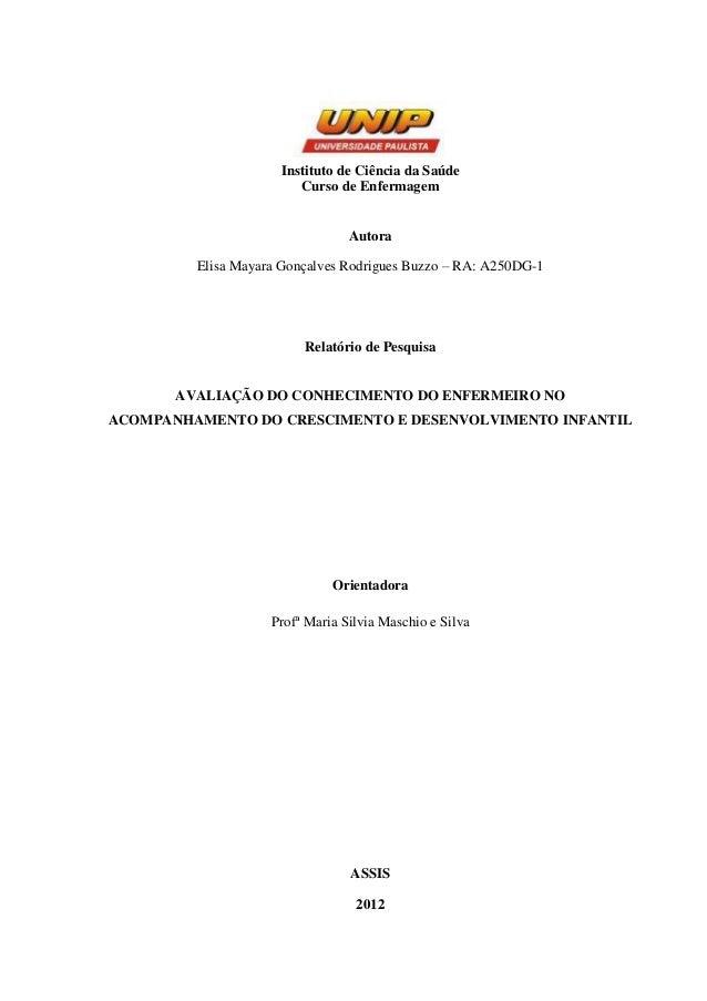 Trabalho Conclusão de Curso Enfermagem UNIP/Assis 2012