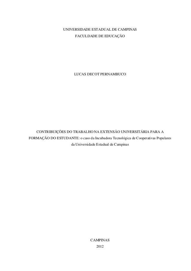 UNIVERSIDADE ESTADUAL DE CAMPINAS FACULDADE DE EDUCAÇÃO LUCAS DECOT PERNAMBUCO CONTRIBUIÇÕES DO TRABALHO NA EXTENSÃO UNIVE...