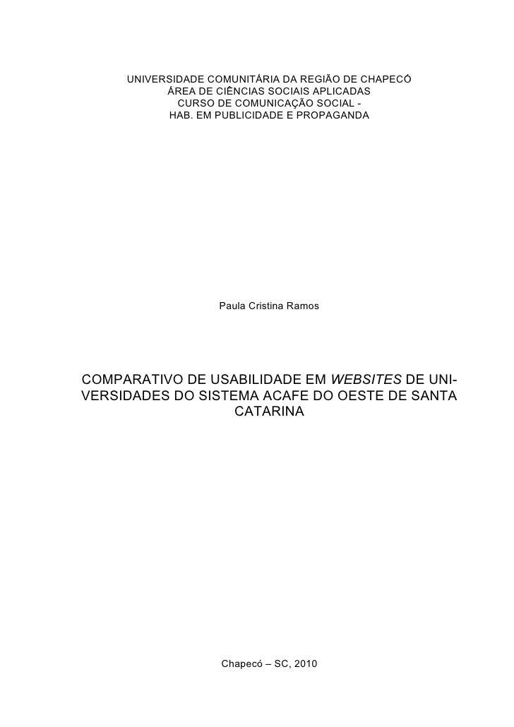 Comparativo de usabilidade nos websites do sistema ACAFE do oeste de Santa Catarina