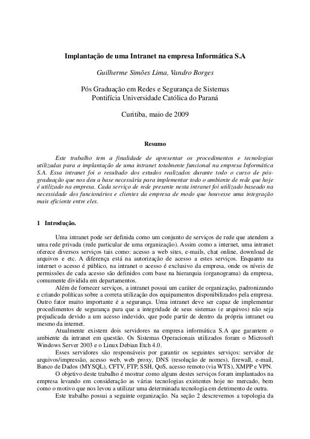 Implantação de uma Intranet na empresa Informática S.A Guilherme Simões Lima, Vandro Borges Pós Graduação em Redes e Segur...