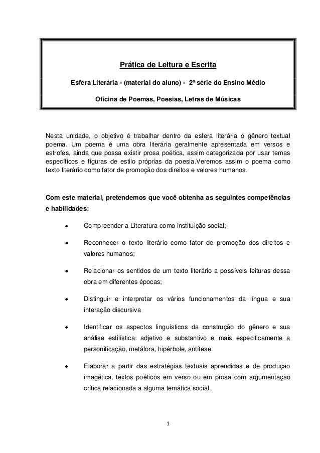 1Prática de Leitura e EscritaEsfera Literária - (material do aluno) - 2ª série do Ensino MédioOficina de Poemas, Poesias, ...