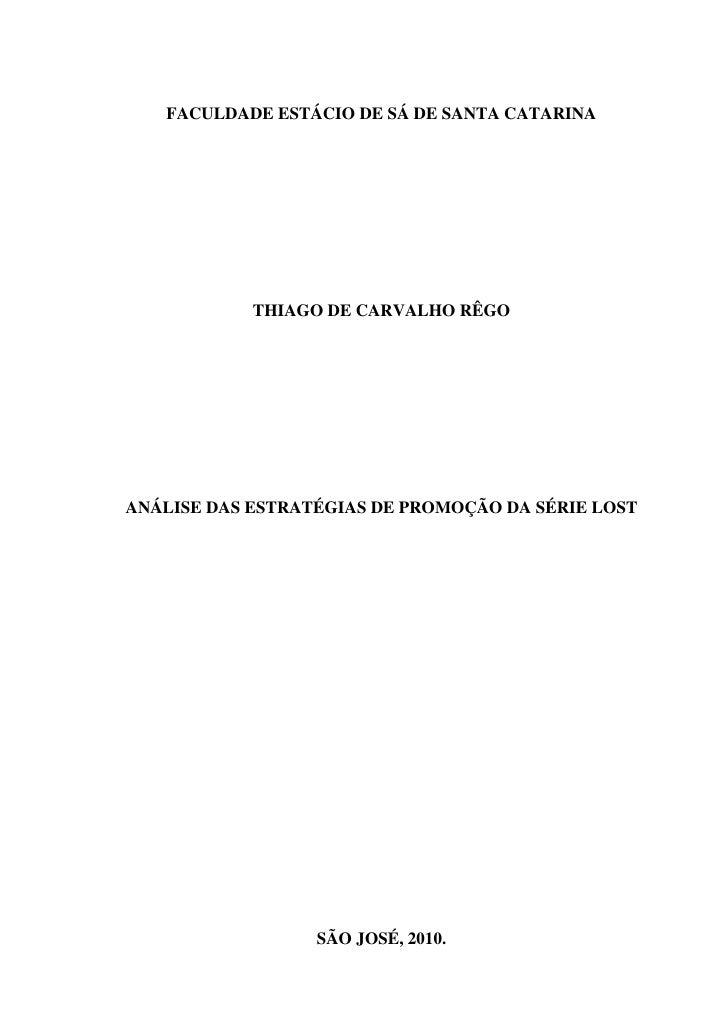 """Tcc """"Análise das Estratégias de promoção da série LOST"""""""