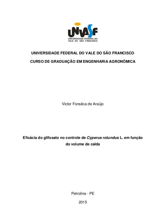 UNIVERSIDADE FEDERAL DO VALE DO SÃO FRANCISCO UNIVERSIDADE FEDERAL DO VALE DO SÃO FRANCISCO CURSO DE GRADUAÇÃO EM ENGENHAR...