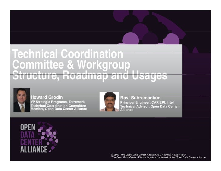 Open Data Center Alliance Workgroups, Usage Models and Roadmap Structure