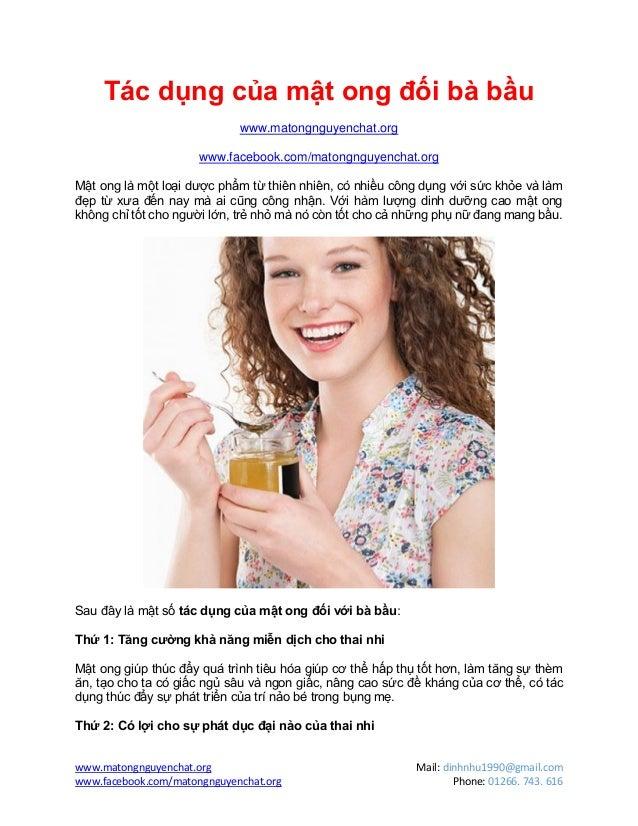 Tác dụng của mật ong đối với bà bầu