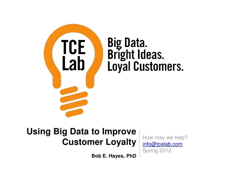 Using Big Data to Improve                                  How may we help?        Customer Loyalty          info@tcelab.c...