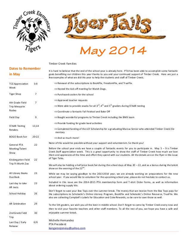 Timber Creek Elementary May 2014 Tiger Tails