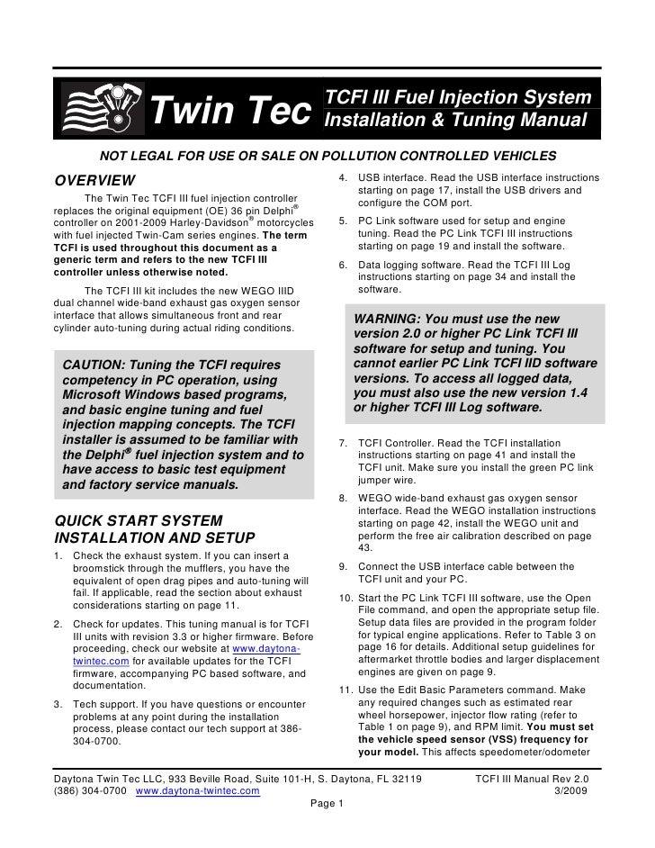 TCFI III Fuel Injection System                     Twin Tec                                Installation & Tuning Manual   ...
