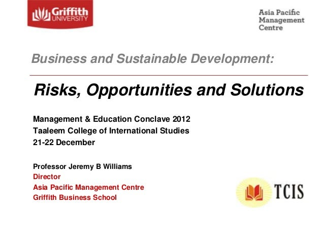 Business & Sustainable Development: Risks, Opportunities, and Solutions