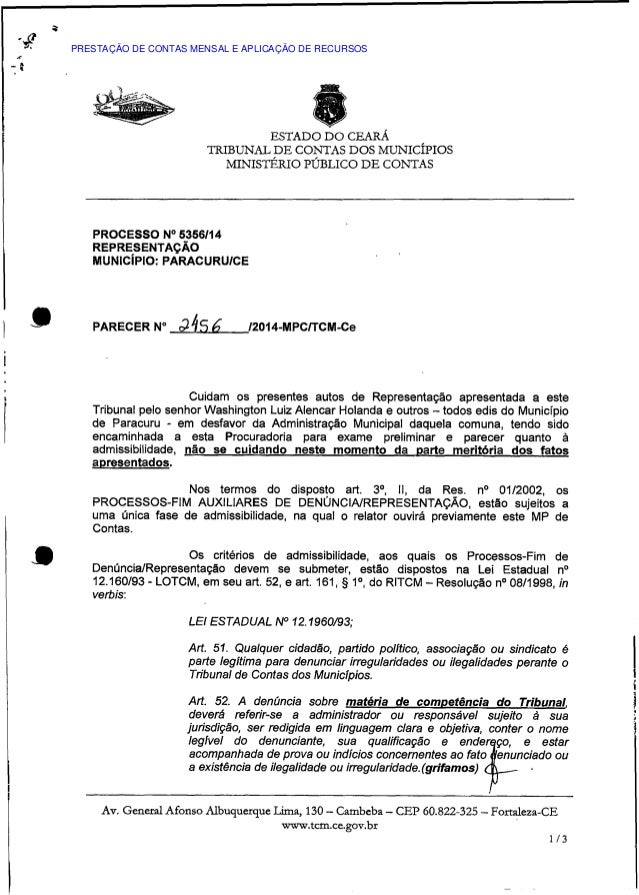 ESTADO DO CEARÁ TRIBUNAL DE CONTAS DOS MUNICÍPIOS MINISTÉRIO PÚBLICO DE CONTAS PROCESSO N° 5356/14 REPRESENTAÇÃO MUNICÍPIO...