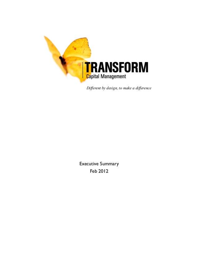 Transform Capital Management Exec Summary
