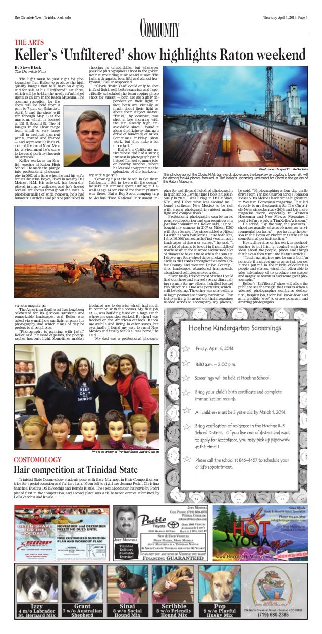 Thursday, April 3, 2014 Page 3The Chronicle-News Trinidad, Colorado Photo courtesy of Trinidad State Junior College COSTOM...