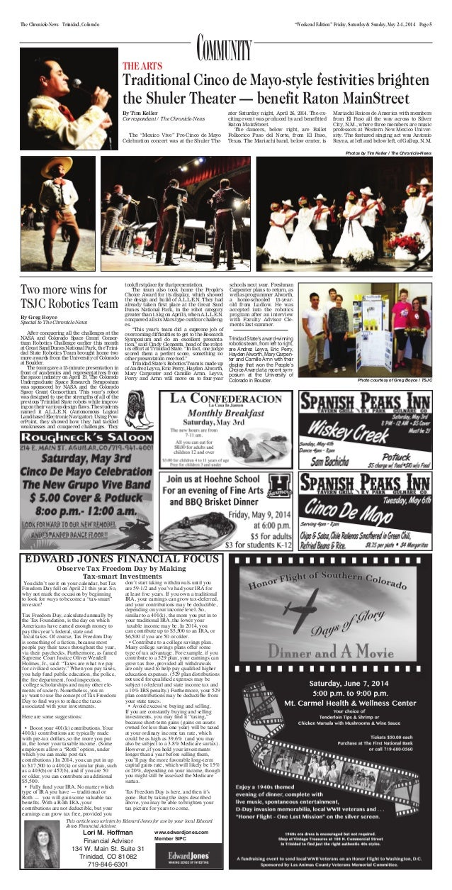 """Weekend Edition"" Friday, Saturday & Sunday, May 2-4, 2014 Page 5The Chronicle-News Trinidad, Colorado Lori M. Hoffman Fin..."