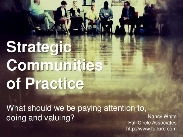 StrategicCommunitiesof PracticeWhat should we be paying attention to,doing and valuing?                        Nancy White...