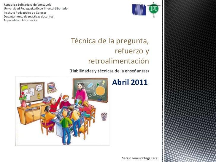República Bolivariana de Venezuela<br />Universidad Pedagógica Experimental Libertador<br />Instituto Pedagógico de Caraca...