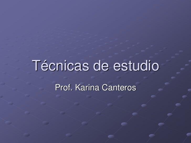 Técnicas de estudio<br />Prof. Karina Canteros<br />