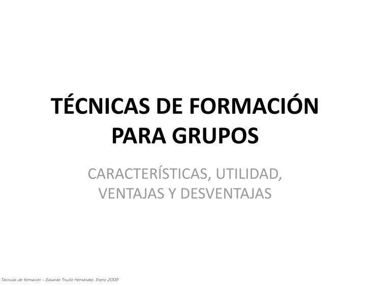TÉCNICAS DE FORMACIÓN                                PARA GRUPOS                                              CARACTERÍSTI...