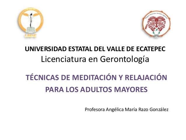 UNIVERSIDAD ESTATAL DEL VALLE DE ECATEPEC Licenciatura en Gerontología TÉCNICAS DE MEDITACIÓN Y RELAJACIÓN PARA LOS ADULTO...