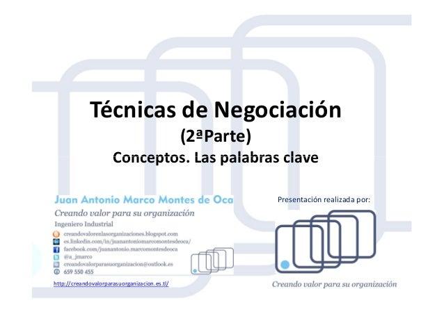 Técnicas de Negociación (2ªParte) Conceptos. Las palabras claveConceptos. Las palabras clave http://creandovalorparasuorga...