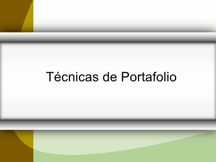 TéCnicas De Portafolio