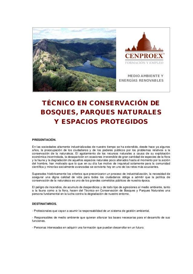 Técnico en conservación de bosques, parques naturales y espacios protegidos