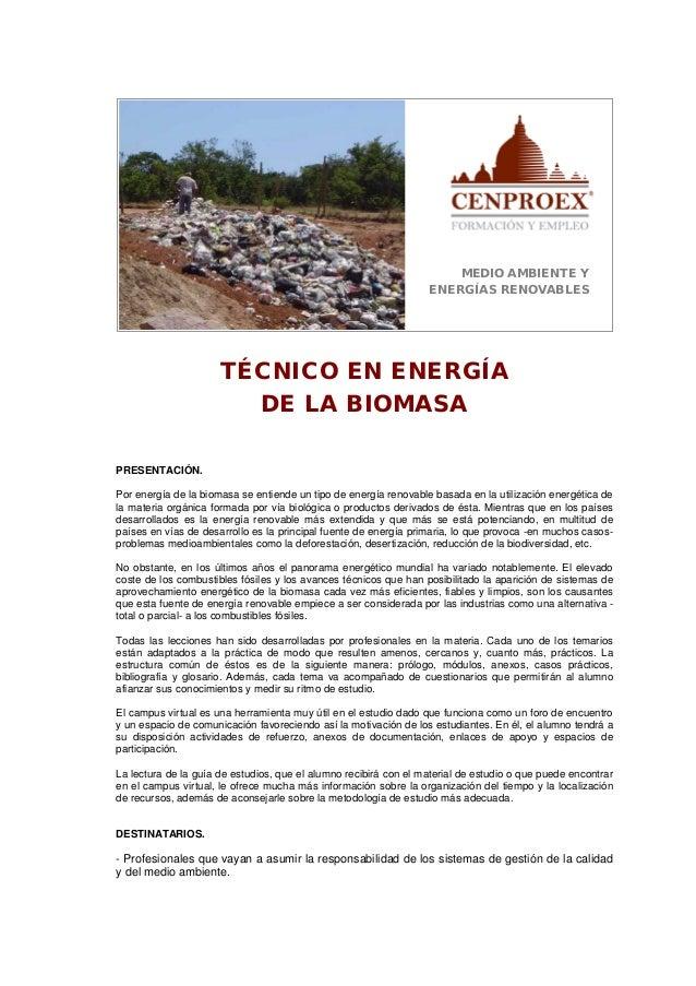 MEDIO AMBIENTE Y ENERGÍAS RENOVABLES TÉCNICO EN ENERGÍA DE LA BIOMASA PRESENTACIÓN. Por energía de la biomasa se entiende ...
