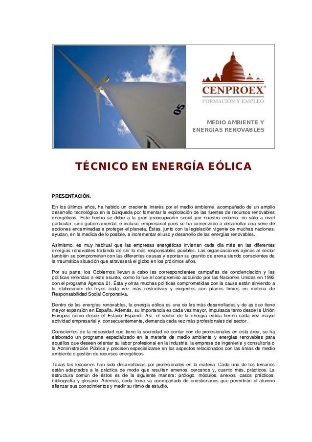 MEDIO AMBIENTE Y ENERGÍAS RENOVABLES TÉCNICO EN ENERGÍA EÓLICA PRESENTACIÓN. En los últimos años, ha habido un creciente i...
