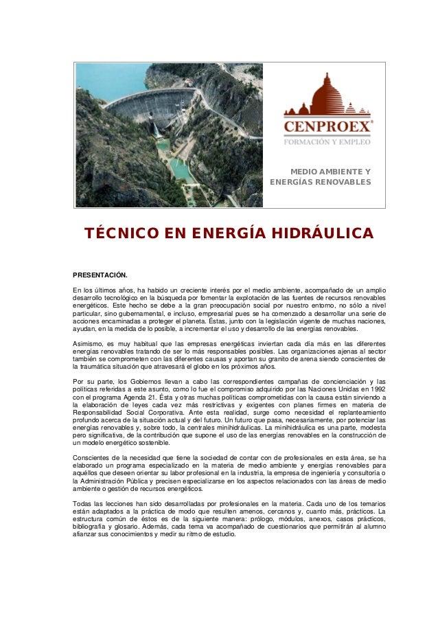 Técnico en energía hidráulica