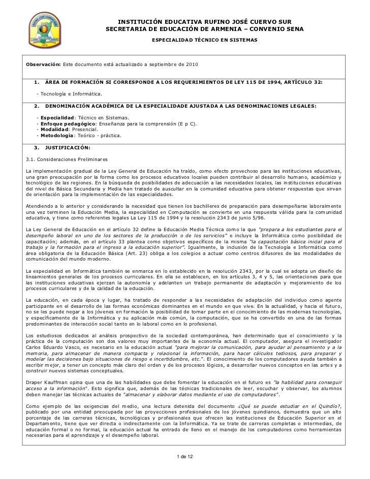 INSTITUCIÓN EDUCATIVA RUFINO JOSÉ CUERVO SUR                                  SECRETARIA DE EDUCACIÓN DE ARMENIA – CONVENI...