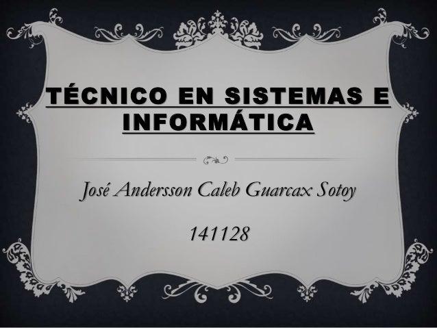 TÉCNICO EN SISTEMAS E INFORMÁTICA José Andersson Caleb Guarcax Sotoy 141128