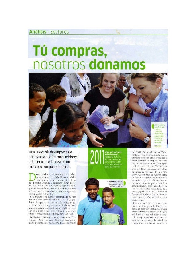 Article about BuyOne-GiveOne model in Colombia