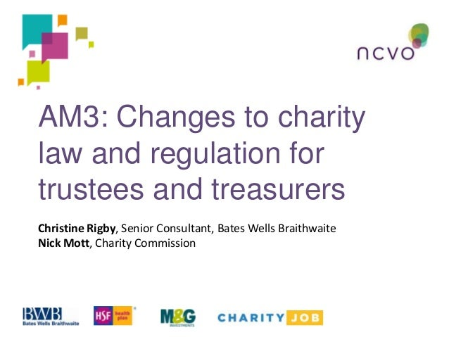 AM3: Changes to charity law and regulation for trustees and treasurers Christine Rigby, Senior Consultant, Bates Wells Bra...