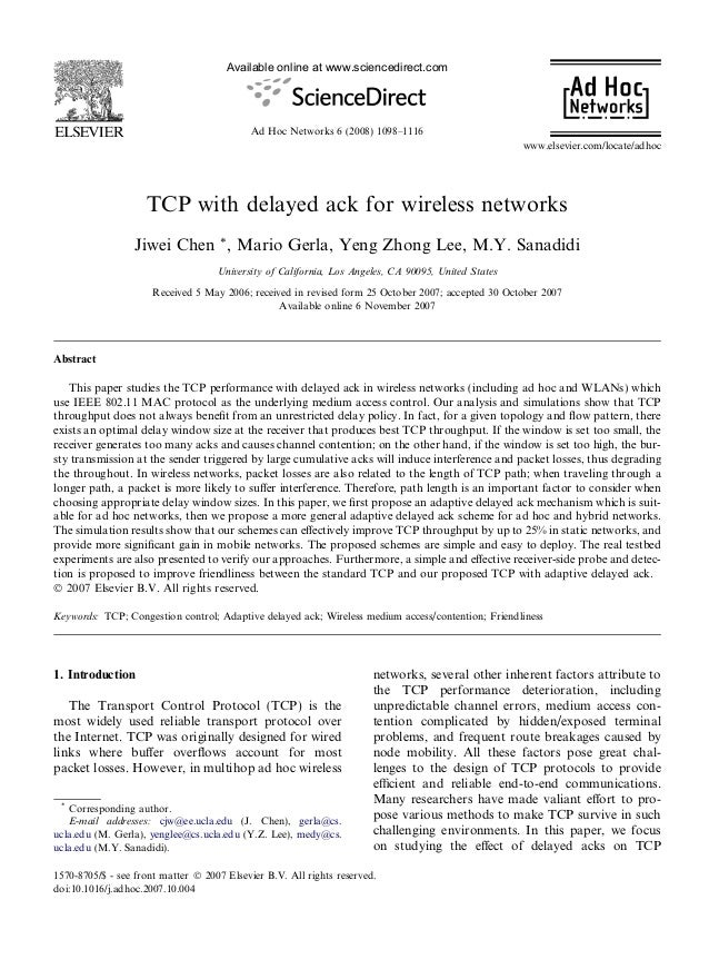 Available online at www.sciencedirect.com                                            Ad Hoc Networks 6 (2008) 1098–1116   ...