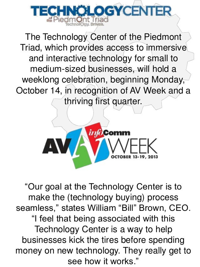 AV Week at the Technology Center of the Piedmont Triad